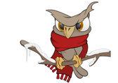 Owl in the winter cartoon — Stock Vector