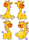 Set of toy giraffes cartoon — Stock Vector