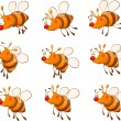 Set of bees cartoon — Stock Vector