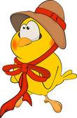 Chicken in a hat cartoon — Stock Vector