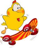 Chicken and skate board cartoon — Stock Vector