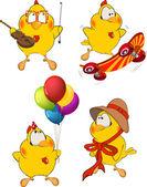 Set of Chicken Cartoons — Stock Vector