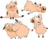 A set of cheerful pigs cartoon — Stock Vector