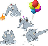 Set of elephants cartoon — Stock Vector