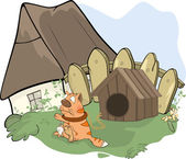 The tabby cat and a doghouse cartoon — Stock Vector