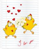 Chicks in love — Stock Vector