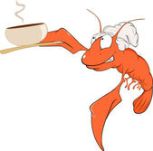 Red Crab cartoon with coffee — Vetorial Stock