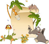 Animals With Blank Sign Board — Stock Vector