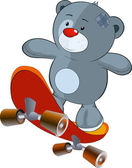 Toy bear cub and skateboard — Stock Vector