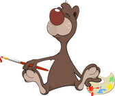 A brown bear the artist. — Stock Vector