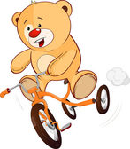 Toy bear cub and a children's tricycle — Stock Vector