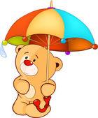 A bear cub and an umbrella — Stock Vector