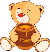 Toy bear cub and a barrel of honey — Stock Vector