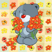 Toy bear cub and flowers — Stock Vector