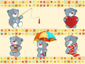 Set of small bears on wallpaper — Stock Vector
