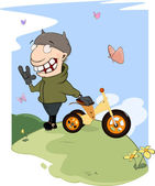 Biker and a children's tricycle cartoon — Stockvektor