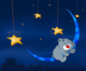 Bear cub and the moon — Stock Vector