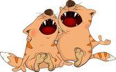 A cat duet cartoon — Stock Vector