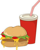 Fast food hamburger and a drink. — Stock Vector