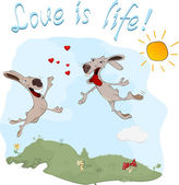 Rabbits and love postcard — Vector de stock