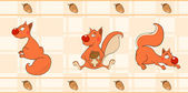 Border for wallpaper with squirrels — Stock vektor