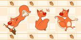 Border for wallpaper with squirrels — Vector de stock
