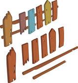 Wooden fence cartoon — Stock Vector
