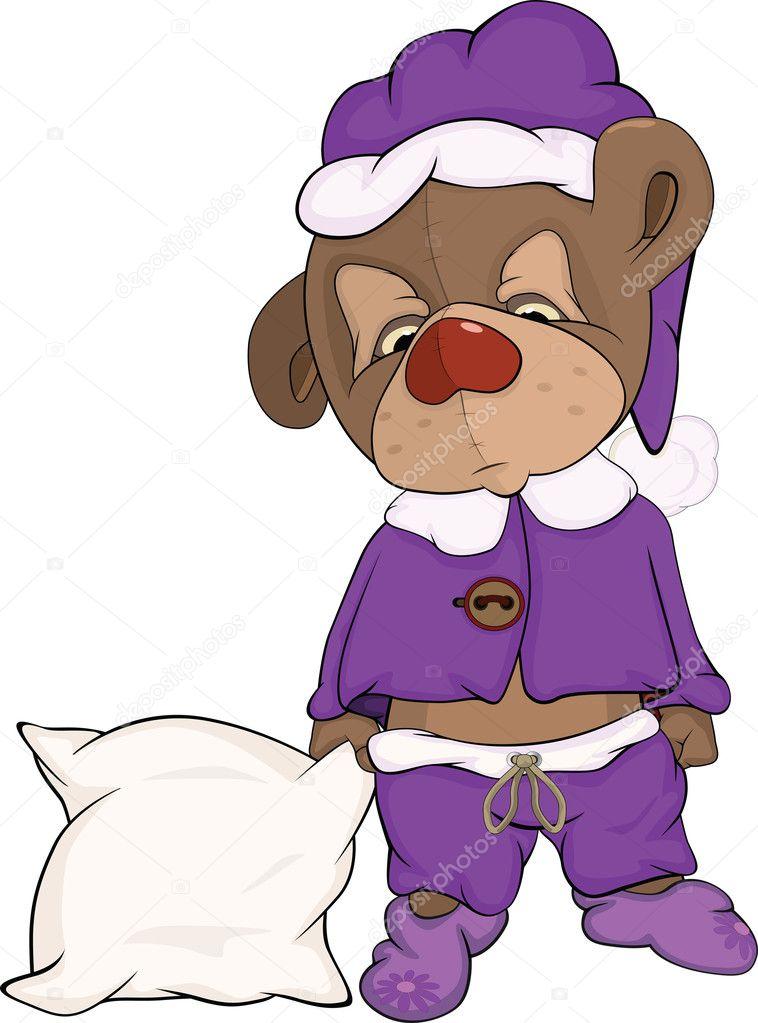 瞌睡熊和枕头卡通泰迪熊玩具 — 矢量图片作者 liusaart