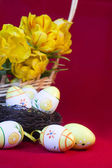 Yellow tulips and eggs for Easter. — Stock Photo