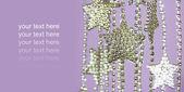 Silver Stars garland on purple background — Stock Photo