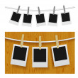 Photo frames with pins on rope - Imagen vectorial