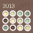 2013 calendar in flower form - Stock Vector