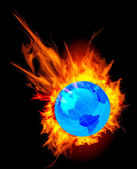 Burning globe earth — Stock Vector