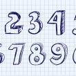 Hand drawn vector numbers — Stock Vector