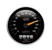 2014 jaar kalender snelheidsmeter auto — Stockvector