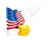 U.S. Flag with coins — Stock Vector