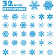 Snowflakes. A set of 32 icons. — Stock Vector