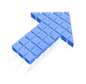 Arrow icon made of blue cubes — Stock Vector
