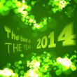 The best of the 2014 on green bokeh background — Stock Vector