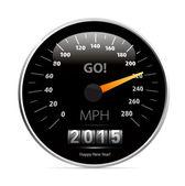 Calendar 2015 in speedometer car. — Stock Vector