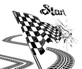 Drawing checkered flag with tire track — Stok Vektör