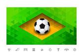 Soccer ball with brasil flag in triangle style — Stockvektor