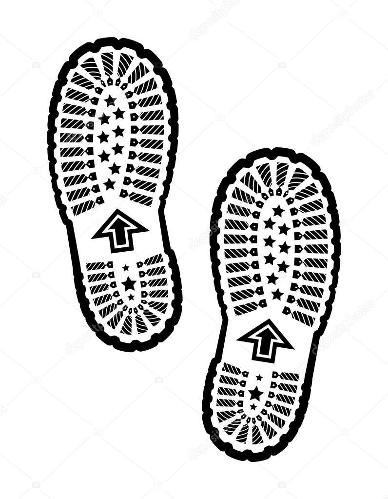 Shoe Prints Drawing Shoe Print Vector Illustration