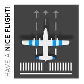 Plane on the runway at the airport. Top view — Stock Vector