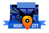 Night in the city. Top view — Stock Vector