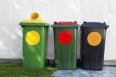 Colored garbage bins — Stock Photo