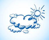 手绘图与云的天空 — 图库矢量图片