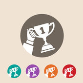 Hand holding trophy — Stock Vector