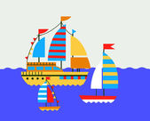Set of boat at the sea — Stock Vector