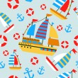 Set of boat at the sea — Stock Vector #12291393
